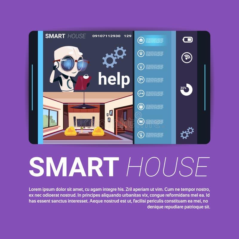 Digital minnestavla med den smarta manöverenheten för huskontrollApp, modern teknologi av begreppet för hem- automation royaltyfri illustrationer