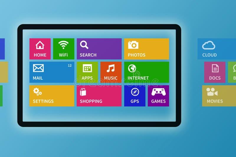 Digital minnestavla med färgrika app-symboler stock illustrationer