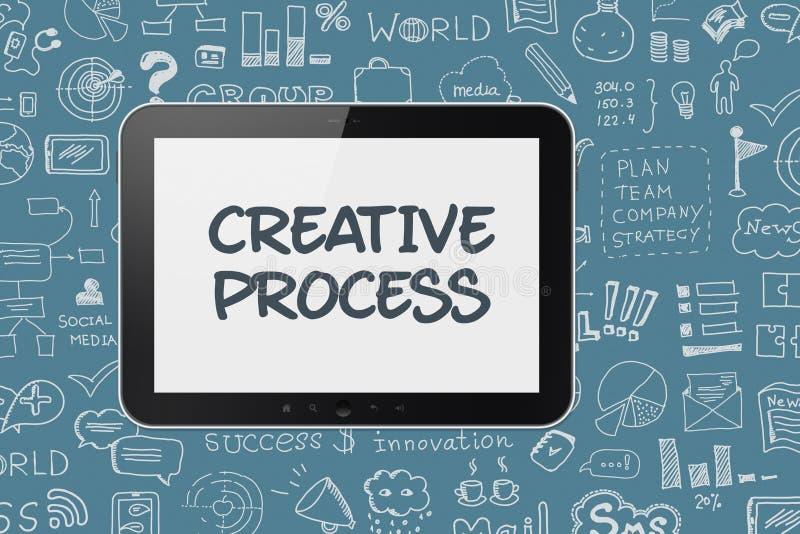 Digital minnestavla med idékläckningprocessbakgrund stock illustrationer