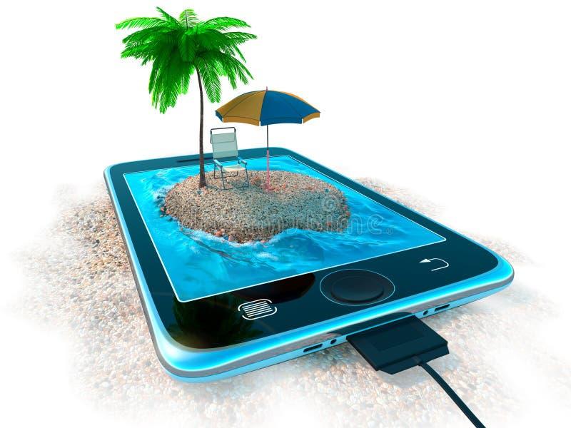 Digital minnestavla och havsstrand som semesterbegrepp stock illustrationer