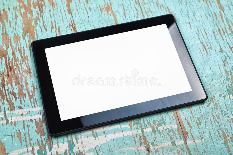 Digital minnestavladator med den tomma vita skärmen fotografering för bildbyråer