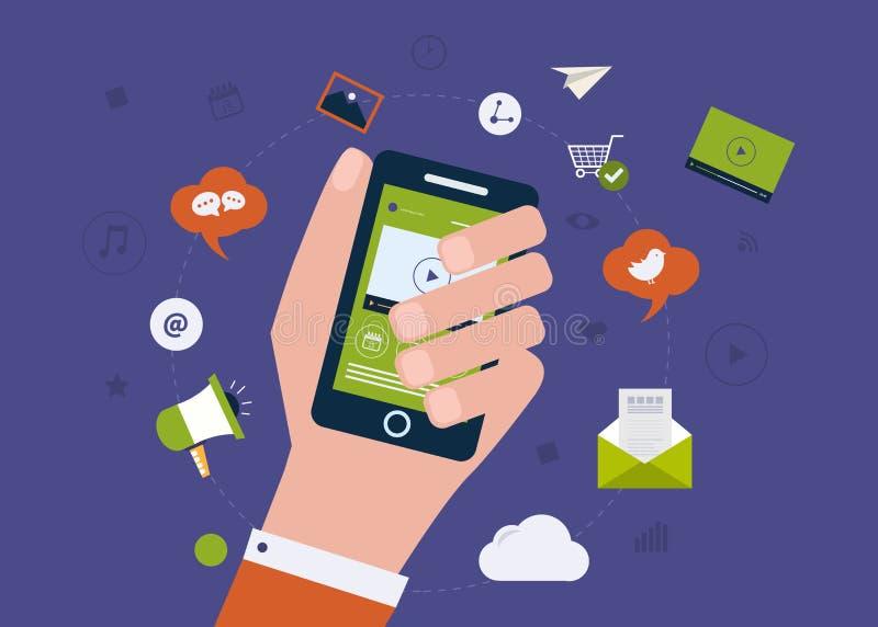 Digital mobil marknadsföring royaltyfri illustrationer