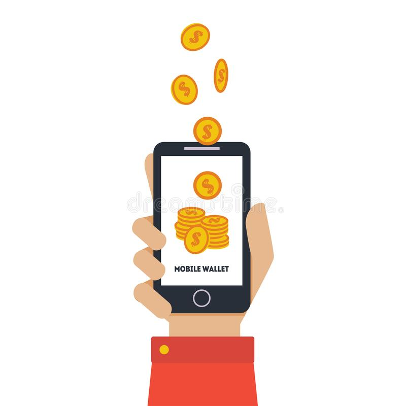 Digital Mobile Wallet, Hand Holding Smartphone, Wireless Money Transfer, People Sending and Receiving Money with Mobile royalty free illustration