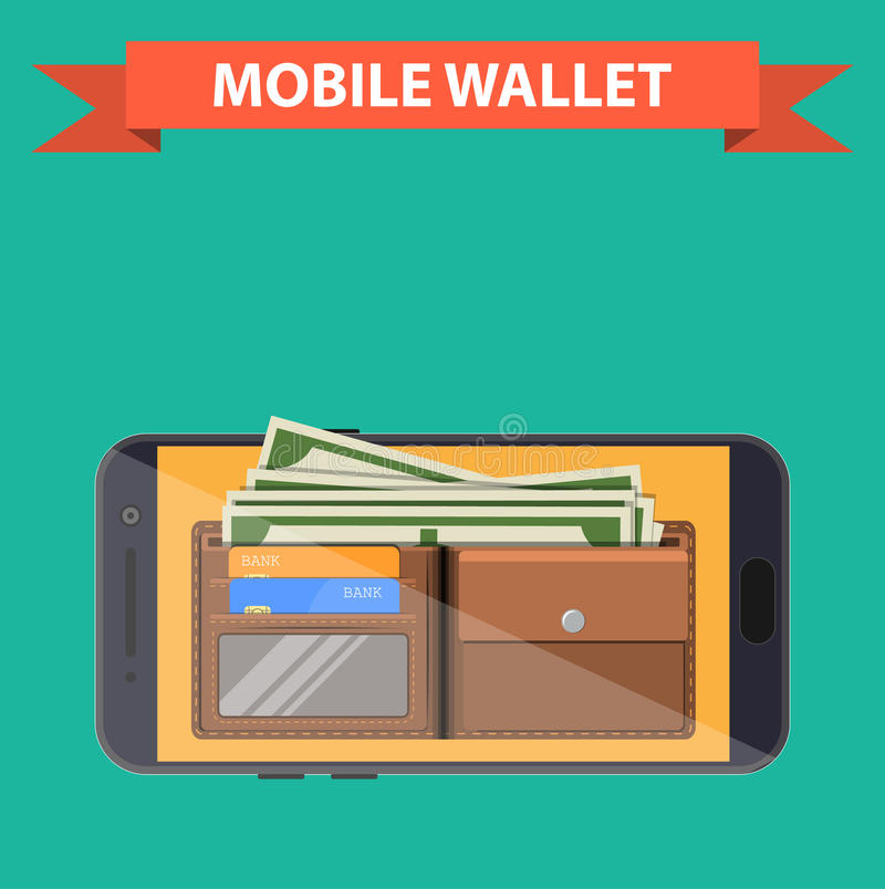 Digital mobile wallet. Icon. smartphone screen with wallet and credit cards on screen. Internet banking concept. wireless money transfer. vector illustration in royalty free illustration