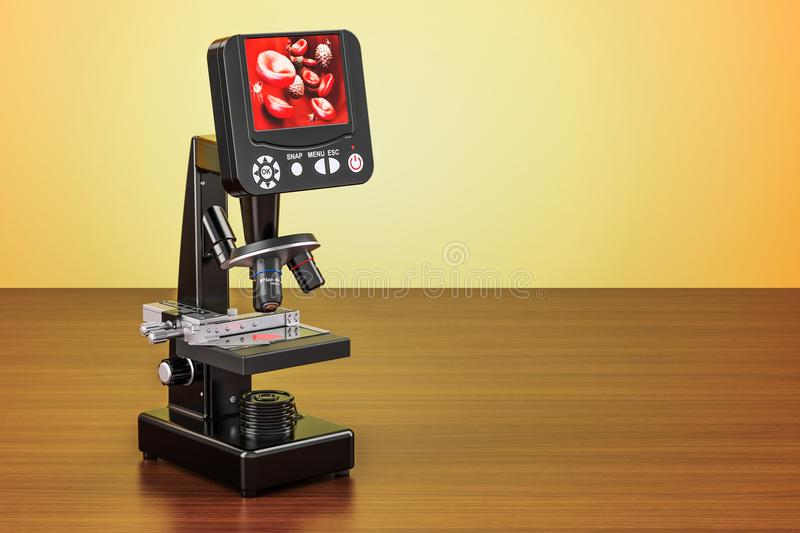 Digital modern microscope with screen on the wooden table. 3D r vector illustration