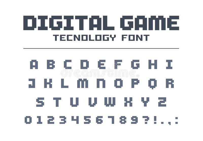 Digital modig teknologistilsort Retro bokstäver och nummer för videoen, dator, mobil app-logodesign PIXELkonst, bit 8 vektor illustrationer