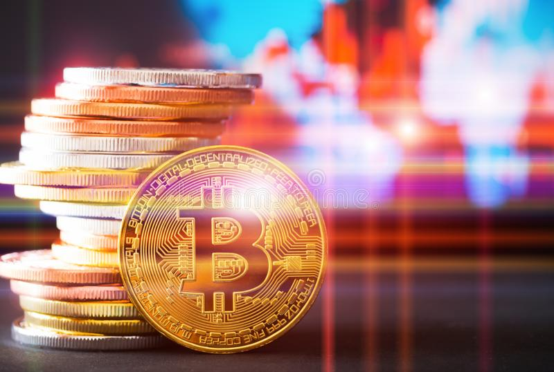 Digital money Bitcoin is modern trade or modern currency for exchange rate on blurred with line background. stock images