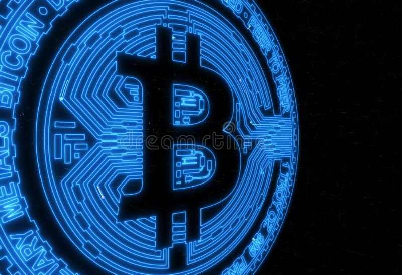 Digital money bitcoin on the neural global network background stock illustration