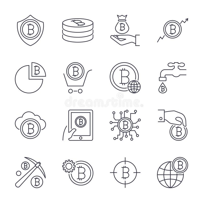 Digital money, bitcoin vector line icons, minimal pictogram design. Editable stroke for any resolution. stock illustration