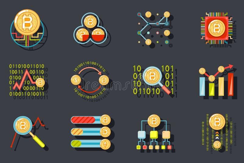 Digital Money Internet Currency Bitcoin Data Analytic Web Site Server Technology Icons on Stylish Background Flat Design vector illustration