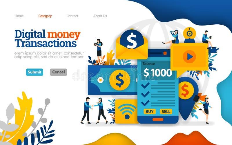Digital money transaction. sending and taking money only with mobile smartfone. Vector flat illustration concept, ads marketing vector illustration