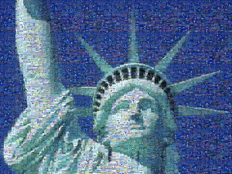 Digital mosaic of small images comprising Statue of Liberty stock photos