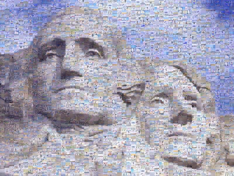 Digital mosaik av små bilder som består av Washington och Jefferson på Mt Rsuhmore arkivbilder