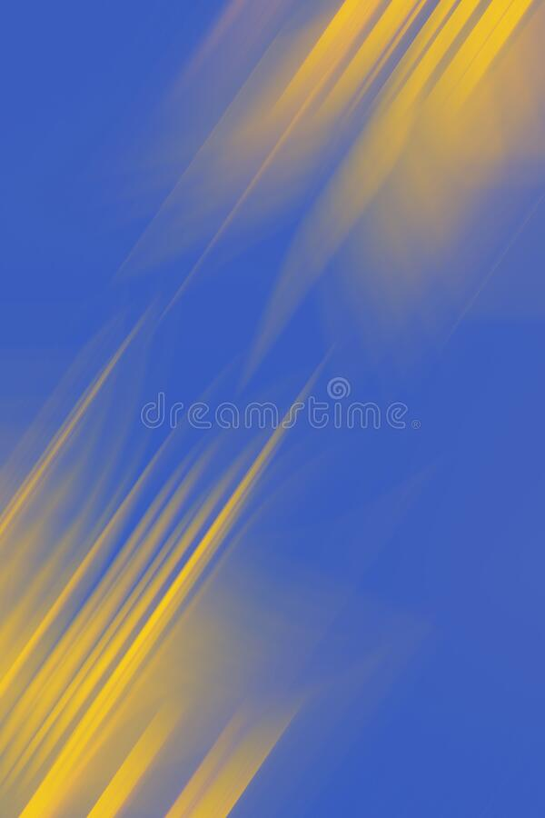 Digital motion blur effect with selective focus, abstracted background template for design, vertical orientation. Blue and yellow color stock photos