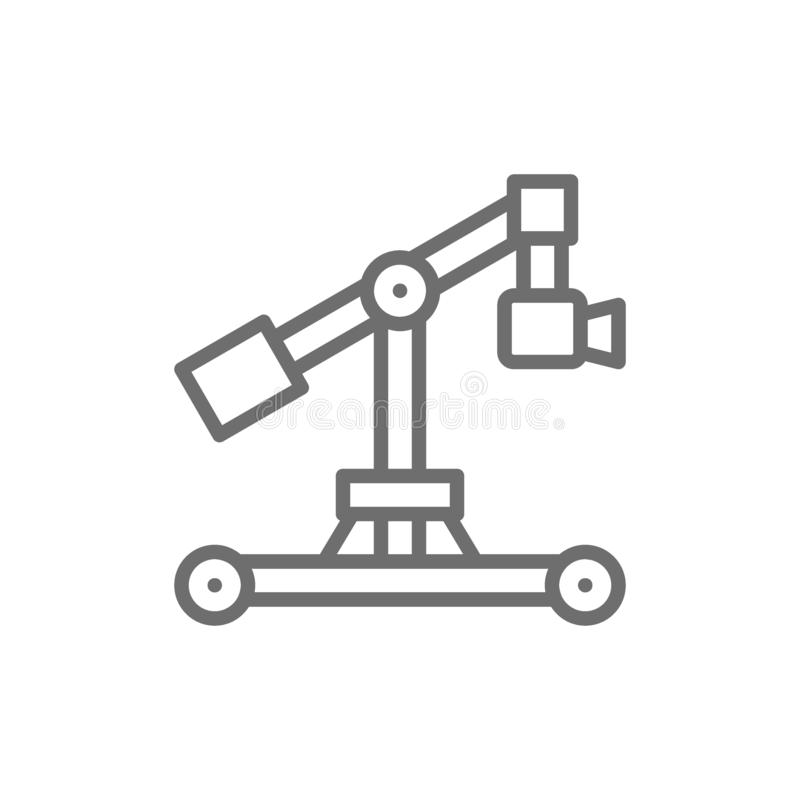 Digital movie camera on dolly rails line icon. stock illustration