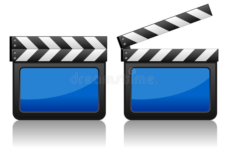 Digital Movie Clapboard. Or film slate with blue display, on white background, in two positions: open and closed. Eps file available royalty free illustration