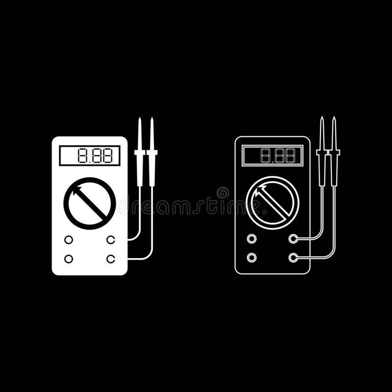 Digital multimeter för mätning av elektriska indikatorer Växelströmsspänningens mäteffekt med sondikonens kontur, vit royaltyfri illustrationer