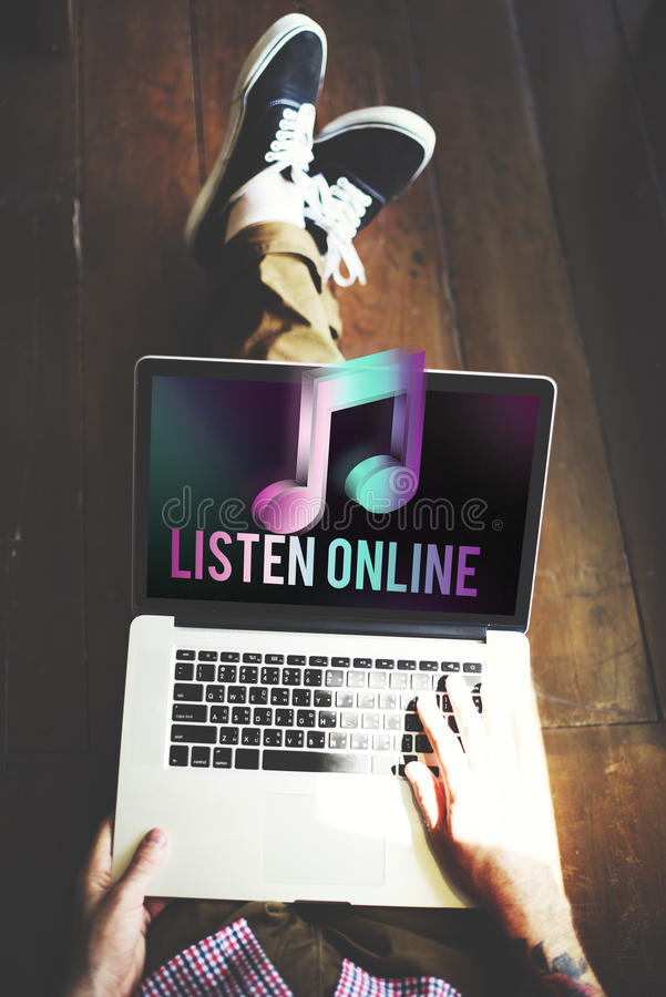 Digital Music Streaming Multimedia Entertainment Online Concept royalty free stock image