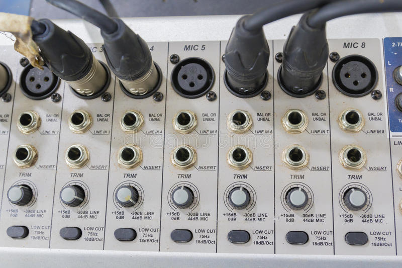 Digital music studio mixer Not clean in thailand royalty free stock photo