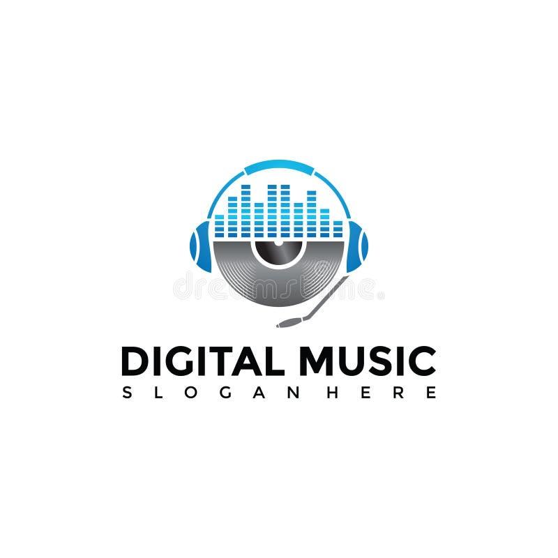 Digital-Musik Apps Logo Template Vektorillustrator ENV 10 stock abbildung