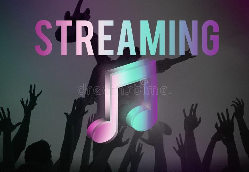 Digital-Musik, die on-line-Unterhaltungs-Werbekonzeption strömt stock abbildung