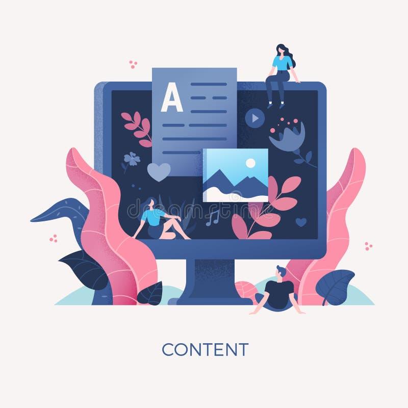 Digital nöjd begreppsillustration stock illustrationer