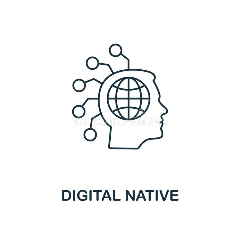 Digital Native icon outline style. Thin line design from fintech icons collection. Pixel perfect digital native icon for royalty free illustration