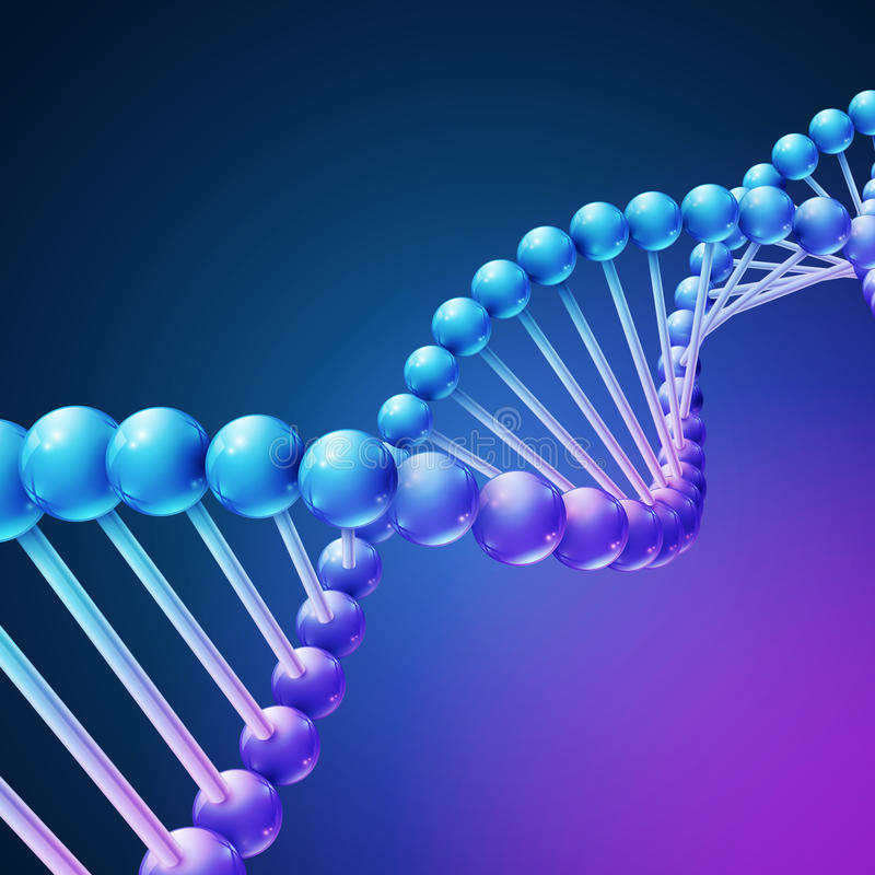 Digital natur, vektorbakgrund för medicinsk vetenskap med DNAmolekylar royaltyfri illustrationer