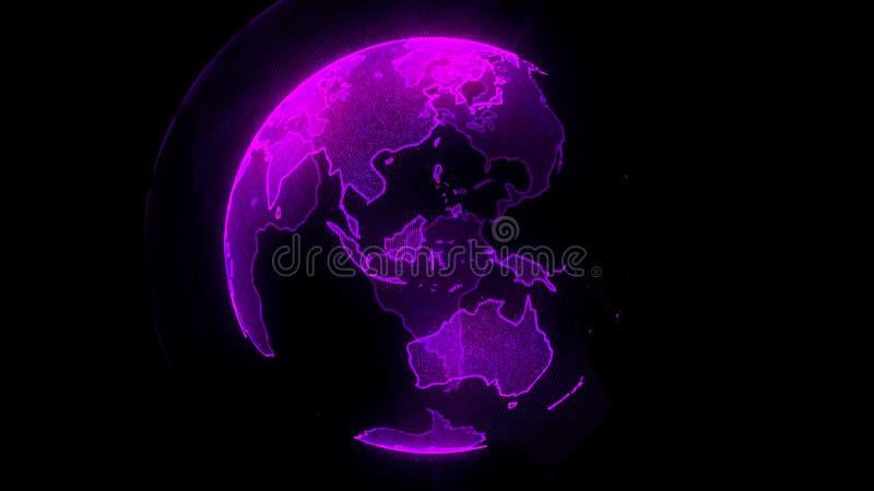 Digital-Neonplanet von Erde Kugel mit glänzenden Kontinenten Illustration 3D mit digitaler Erde und Partikeln stock abbildung