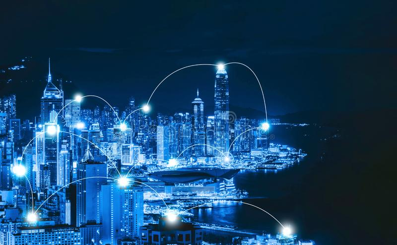 Digital network connection lines of Hong Kong Downtown and Victoria Harbour. Financial district in smart city in technology royalty free stock image