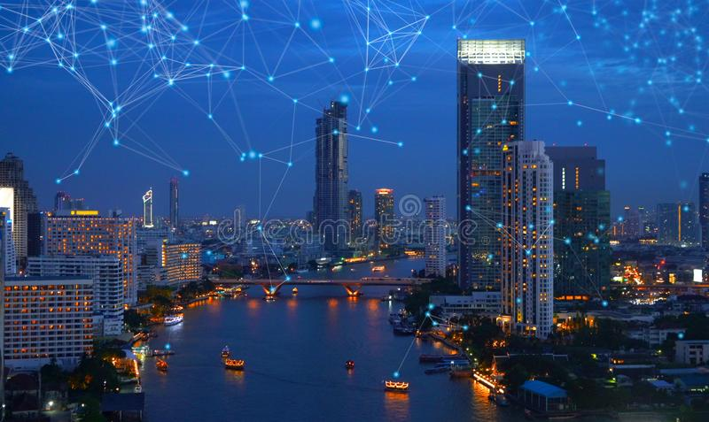 Digital network connection lines of Sathorn with Chao Phraya river, Bangkok Downtown, Thailand. Financial district and business royalty free stock photos