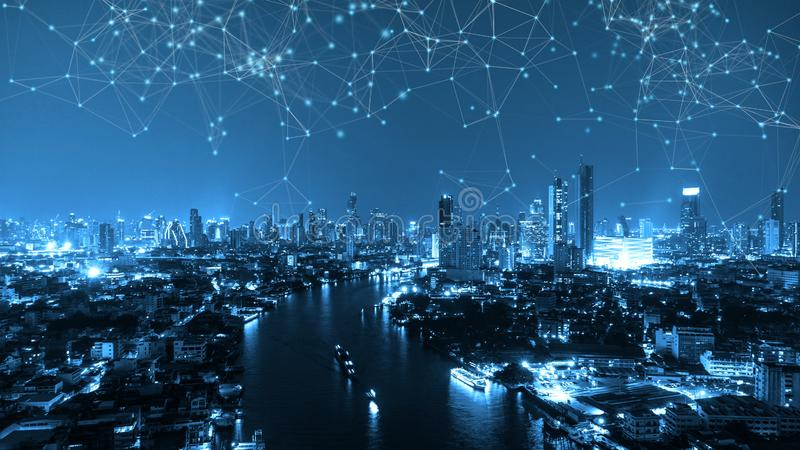 Digital network connection lines of Sathorn with Chao Phraya river, Bangkok Downtown, Thailand. Financial district and business stock images