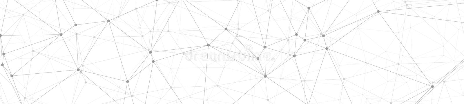 Digital network connections, grey creative graphic banner connected dots and lines vector illustration, white background stock illustration