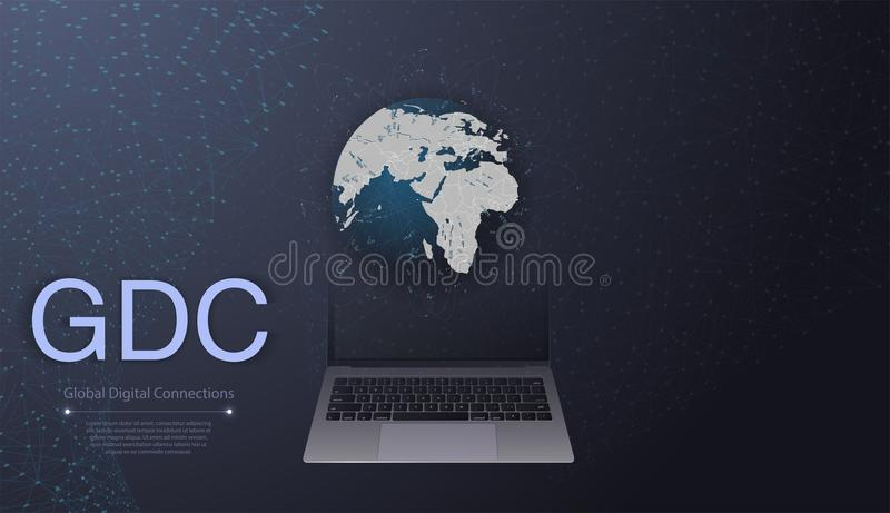 Digital Network Connections, Technology Background - Cloud Computing Design Concept with Earth Globe and World Map vector illustration