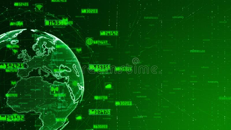 Digital Network Data and Communication Network Concept Abstract Background. World original source from Nasa royalty free illustration