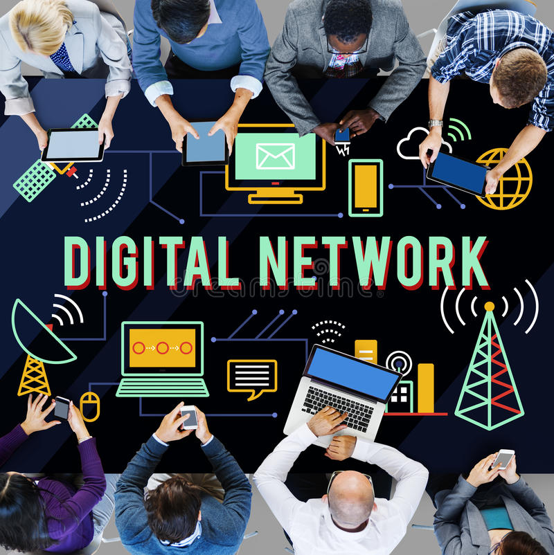 Digital Network Technology Online Connection Concept. Business People Digital Network Technology Online Connection Concept royalty free stock images
