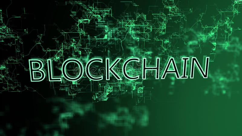 The digital network. Text Blockchain. Green wires on gradient background royalty free illustration