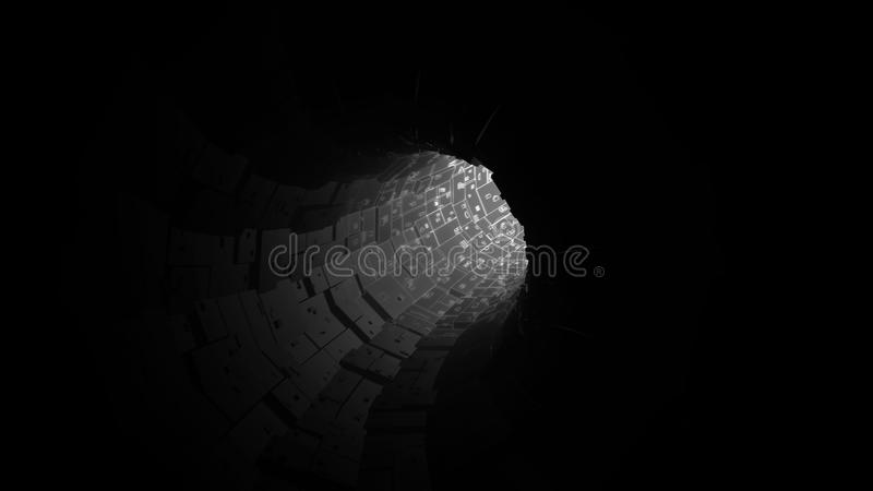 Digital network tunnel abstract background, black and white theme stock photo