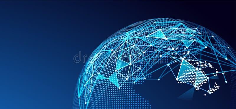 Digital network. Vector. Internet technology, Digital network background, World map point. Vector illustration royalty free illustration