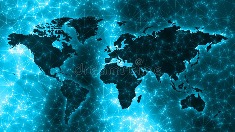 Digital neural network connected dots, lines and world map. Connected dots with lines and graphic world map, creative abstract background. Global business or royalty free stock photography