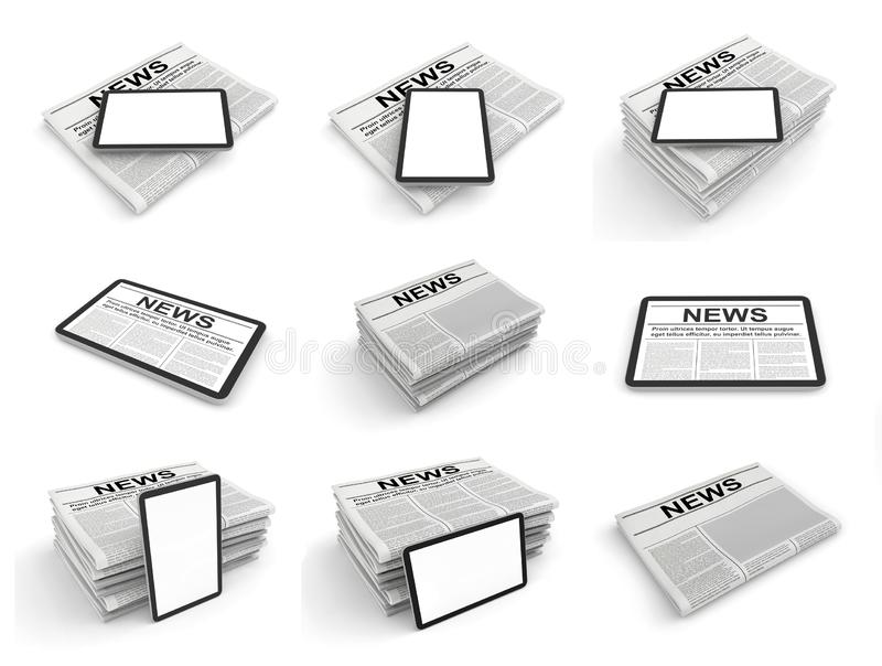 Digital news concept collection with business newspaper on tablet pc screen. 3D set royalty free illustration