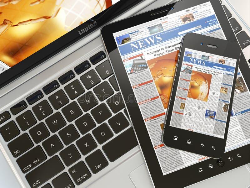 Digital news. Laptop, mobile phone and digital tablet pc vector illustration