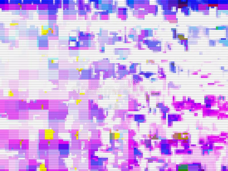 Digital noise background glitch screen,  pink. Digital noise background glitch screen purple pattern,  pink royalty free illustration