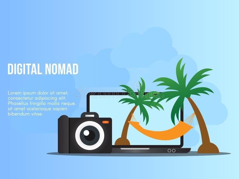 Digital nomad concept illustration design template vector illustration