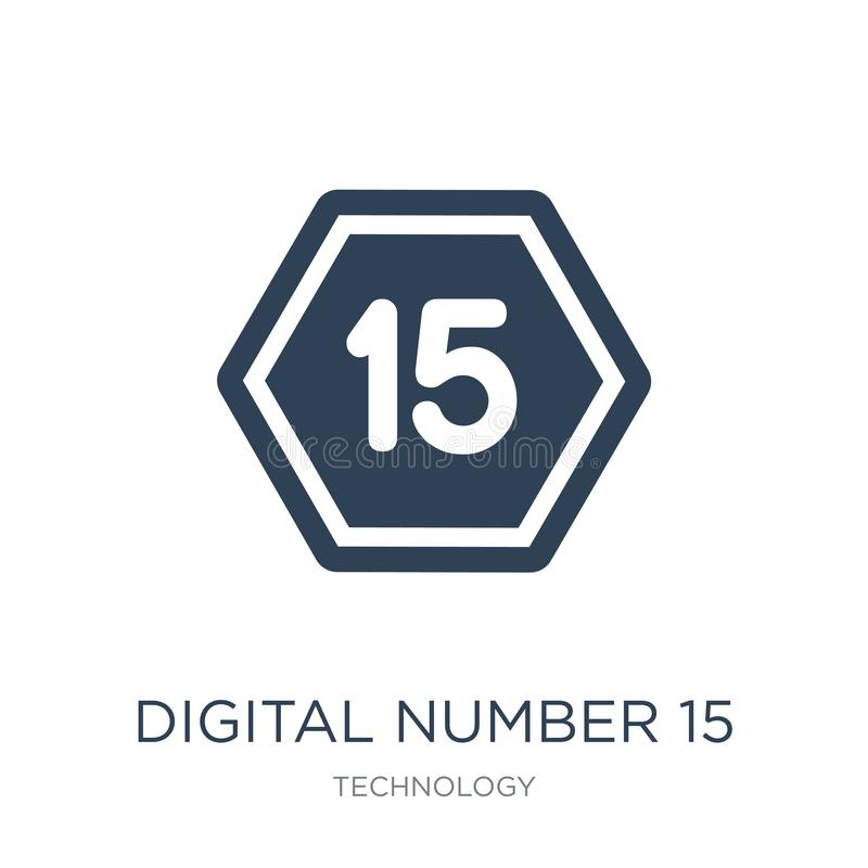 digital number 15 icon in trendy design style. digital number 15 icon isolated on white background. digital number 15 vector icon royalty free illustration