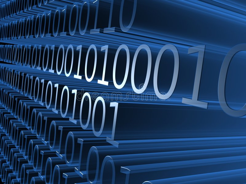Digital numbers. 3d rendered illustration of blue binary numbers stock illustration