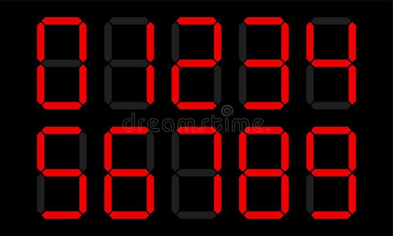 Digital numbers digits vector display stock illustration