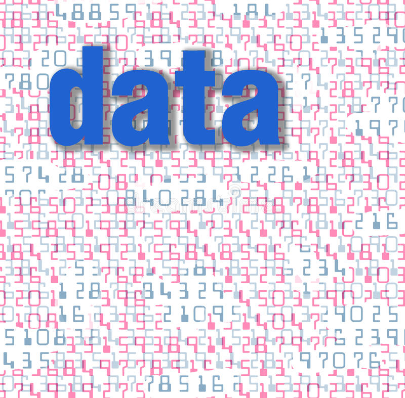 Digital numbers form abstract data background stock illustration