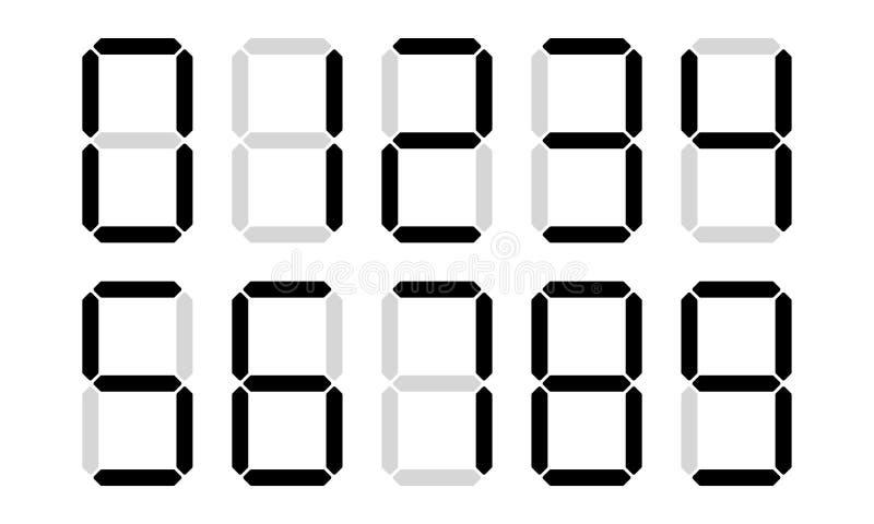 Digital numbers digits vector display vector illustration