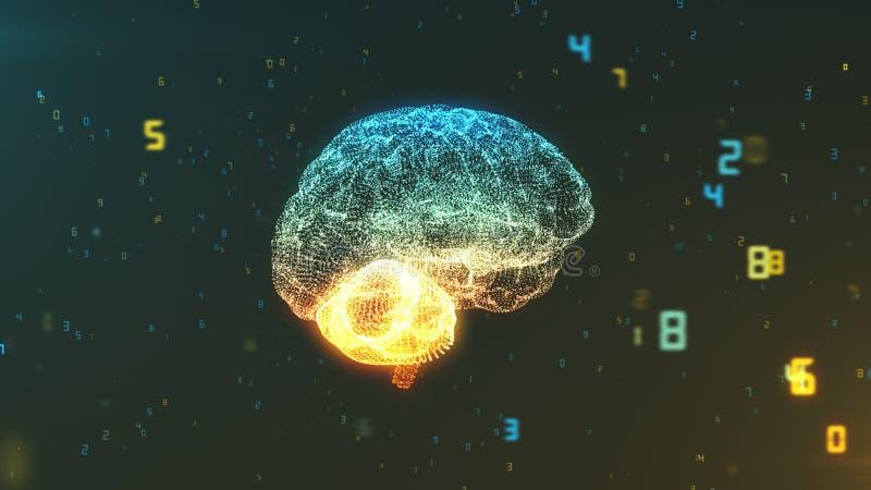 Digital numerisk hjärna som illustrerar stora data och konstgjord intelligens stock illustrationer